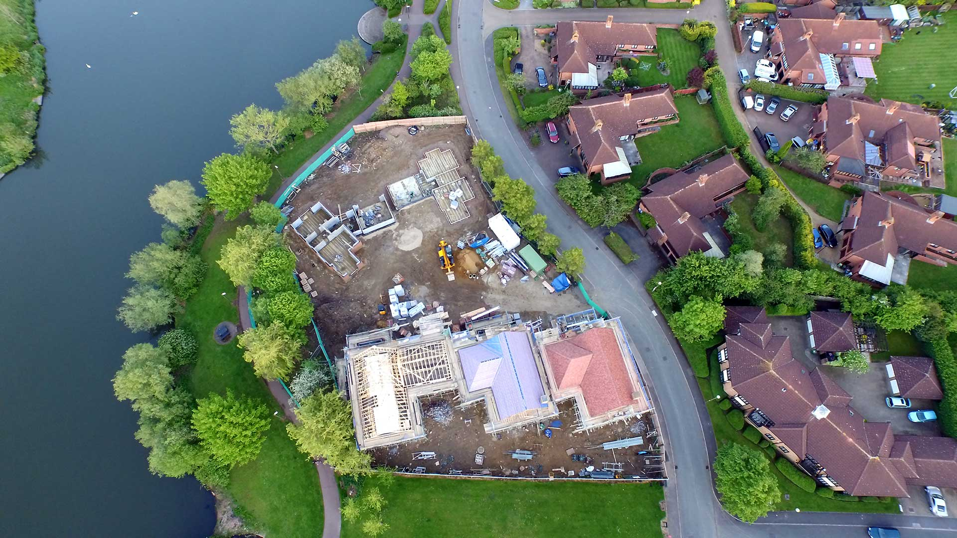 Aerial View Lodge Lake Building development